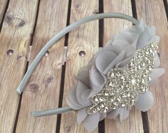 Rhinestone headband, grey headband, flower girl headband, wedding headband, dressy headband, formal headband, baby headband, flower girl