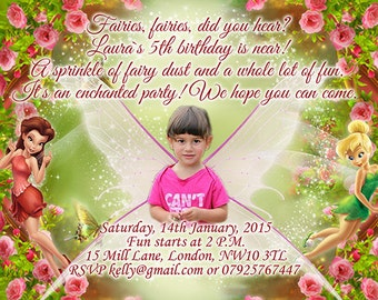 10 x Personalised Photo Birthday Party Invitations or Thank you Cards Fairies Tinker Bell