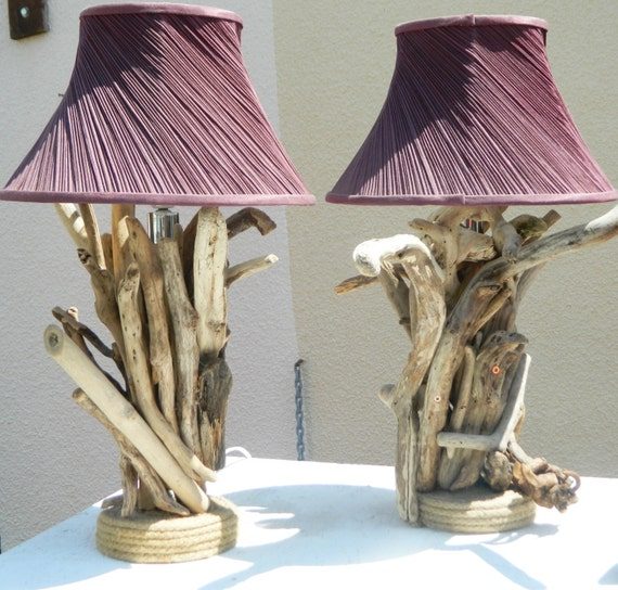 pair of driftwood lamps bedside living room by loveupcycleduk