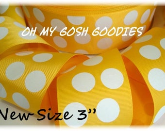 "YELLOW GOLD White JUMBO Dots Grosgrain Ribbon - 3"" - 5 Yards - Oh My Gosh Goodies Ribbon"