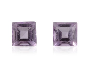 Bolivian Amethyst Loose Gemstones Set of 2 Square Cut 1A Quality 4mm 0.60 cts.