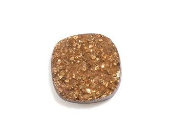 Gold Drusy Quartz Cushion Cabochon Loose Gemstone 1A Quality 9mm TGW 1.85 cts.
