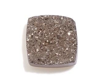 Platinum Drusy Quartz Cushion Cabochon Loose Gemstone 1A Quality 7mm TGW 0.85 cts.