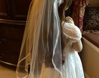 Veil, Veil with Lace Headband, Flower Girl Veil