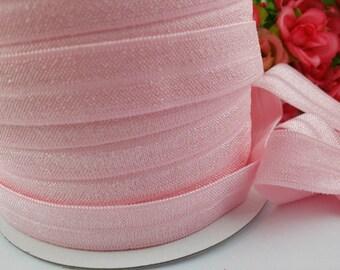 "5/8"" light pink Shiny Elastic, fold over elastic,#117, Elastic by the yard,DIY,Headband,Foe,Wholesale,Foldover elastic"