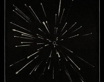 Meteor Shower Art, Meteor Print, Antique Meteor Art, Minimal Line Art, Victorian Astronomy, Galaxy Art, Astronomy Print, Minimal Black Art