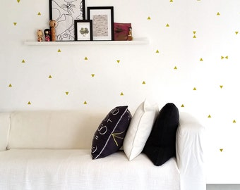 Gold Triangles Wall Decals, Triangles Wall Stickers, Geometric Wall Decor