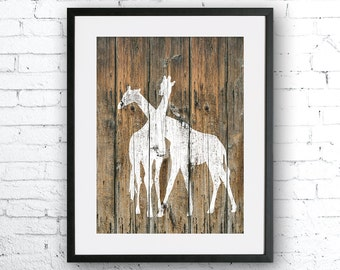 Giraffes art illustration print, Giraffe painting, Rustic Wood art, Animal print, Home Decor, Animal silhouette, Kitchen decor,