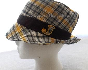 Handmade Hat/ Fedora Hat/ Kids Fedora hat/ Plaid Hat/ Personalized Hat/