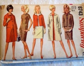 1966 Simplicity pattern 6743 Misses size 12 Coat, Jacket, & Dress
