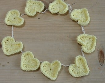 Lemon yellow crochet heart garland