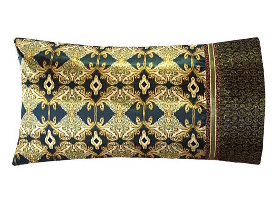 Satin Pillowcase Hunter Green Amp Gold Ikat Damask Print Mixed