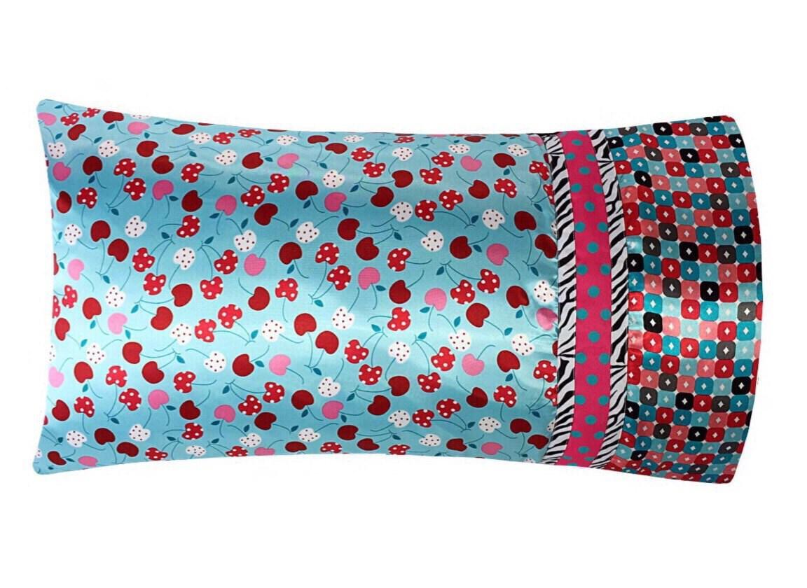 Aqua Amp Red Satin Pillowcase Cherry Print Pillow Case
