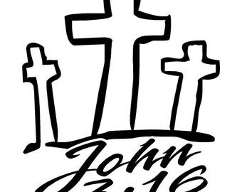John 3:16 Car Decal w/ Crosses