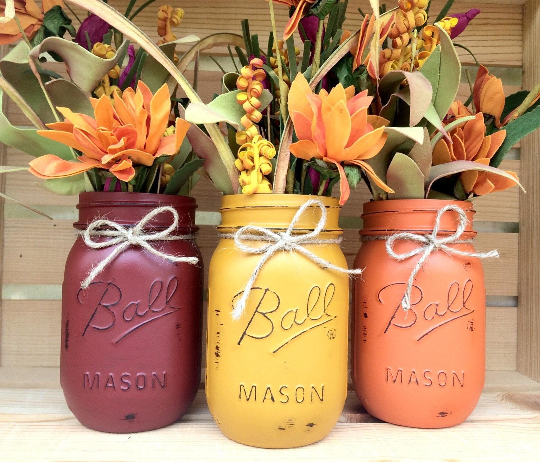 Thanksgiving Centerpiece With Mason Jars : Set of hand painted mason jars autumn home decor fall