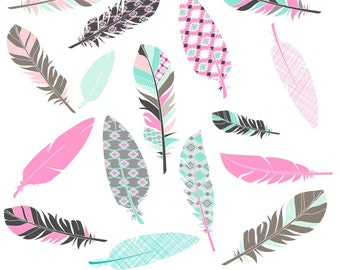 80% OFF SALE Feather Clipart, Digital Feathers, Feather Clip Art, Aztec Feathers, Pink Feather Clipart