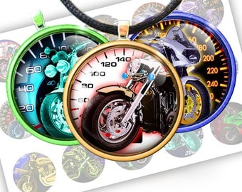"Motorcycle and speedometer - bottle cap - 1 inch circles 25mm, 30mm, 1.25"", 1.5"" rounds Digital Collage, Instant Download, BUY 2 GET 1 FREE"