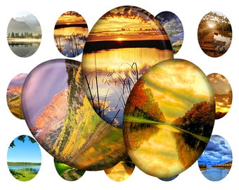 Nature summer landscapes - 30x40 mm Ovals graphics for scrapbooking, stickers, Digital collage sheet, 25 Images File 8,5 x 11