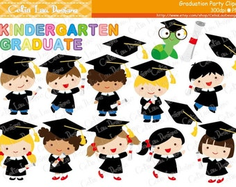 Graduation Party Clipart ,Graduate boys and girls Clip art / INSTANT DOWNLOAD (CG150)