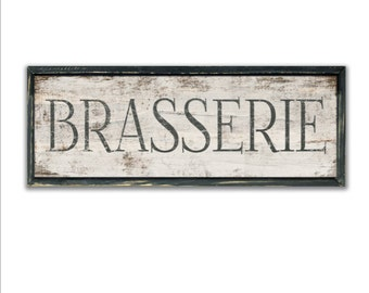 Brasserie signs Brasserie wooden kitchen signs restaurant signs business decor kitchen decor kitchen wall art French typography wall art