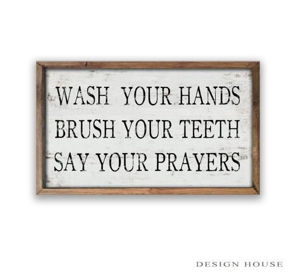 Bathroom Signs Wash Your Hands bathroom rules sign wash your hands brush your teeth say your