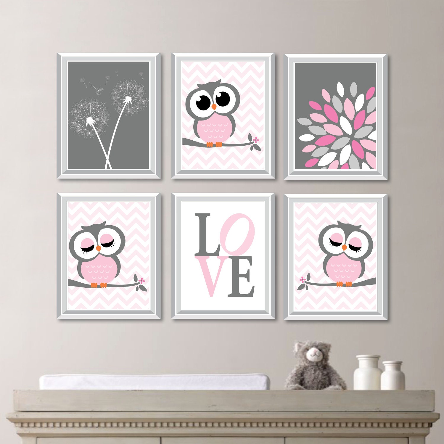 Baby girl nursery art girl nursery decor owl nursery art - Wall decor girl nursery ...