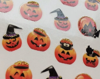 CLEARANCE 8pk Halloween Glittered Pumpkin Nail Art 160 Water Transfers Decals Witch Hat Haunted House