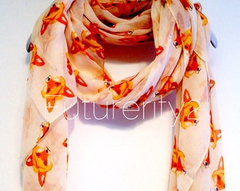 Fox Beige Autumn / Spring Summer Scarf / Gift For Her / Woman Scarves / Fashion Accessories