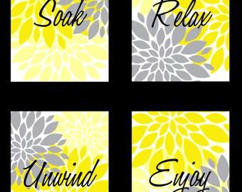 Bathroom Wall Art Print - Soak Relax Unwind Enjoy - Yellow Gray Flowers Starburst