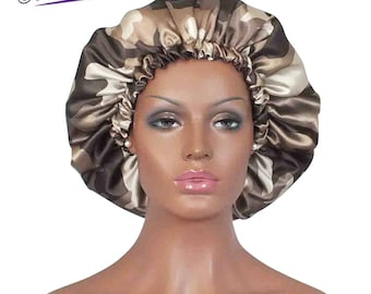 Satin Bonnet Camouflage Tan with Brown Satin Lining Reversible