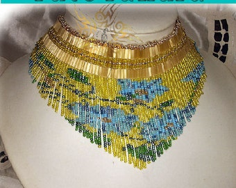 Pattern Flowers fringes necklace ( Italian/french)
