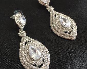 Crystal Earrings, Victorian Wedding Earrings, Crystal Rhinestone Bridal Earrings