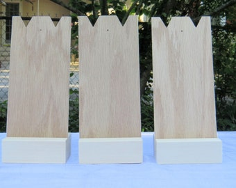 Three Small Two Piece Necklace Display Stands,Craft Show Display,Handmade, Unfinished Wood,Portable,Compact,Durable,Jewelry Display