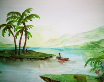 Palm Island, Palm Trees Island Painting, 11x15 Original Landscape Watercolor Painting on Watercolor Paper, Wall Art, Water Landscape