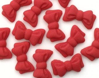 Edible fondat BOWS - Red - choose set size - handmade edible cupcake topper decorations