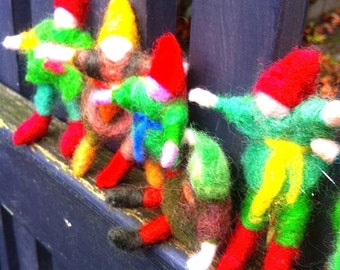 Gnomes, needle felted Australian wool-made to order, all one of a kind, soft, posable.