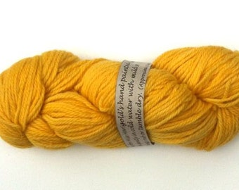 "Yarn, 100gms, all wool, hand dyed 8 ply (D.K. weight) ""sunflower yellow"""