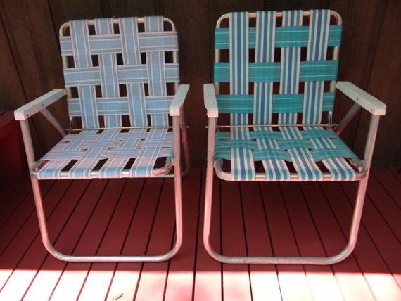 Set of 2 Sunbeam Aluminum Retro Folding Lawn Chairs Webbed