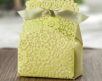 100 Embossed Hollow-out Paper Boxes - Lime or Red - DIY Craft Jewelry Accessories Packaging / Wedding Party Gift Boxes
