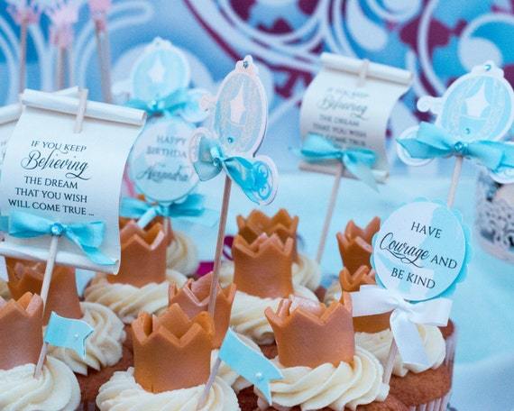 Cinderella Carriage Cupcake Toppers, Cinderella Party Decorations, Cinderella Birthday Princess Birthday Food Picks, Set of 12 (PT1)