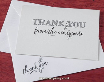 Wedding Thank You from the Newlyweds Wedding Thank Yous Mr & Mrs Thank You Note from the Bride and Groom WED13
