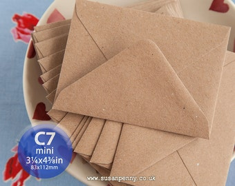 100 Kraft Envelope, Greeting Card Envelope, C7 83x112mm, Triangular Flap Gummed, High Quality, Flecked Brown, 110gsm, 100% recycled - PSS026