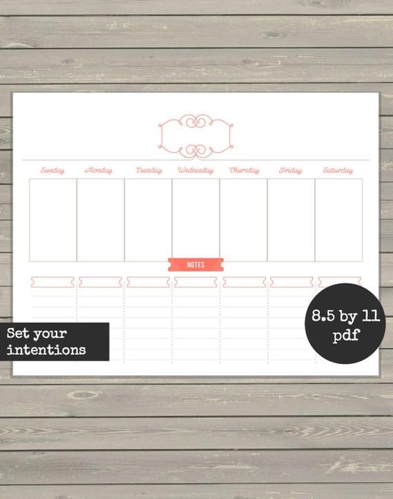 Week Schedule Printable Plan