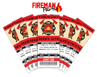 Firefighter Party Invitations Ticket Printable - Instant Download Editable PDF