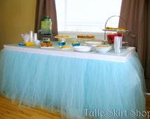 Blue Tulle Table Skirt, Tutu Tableskirt for Wedding, Birthday, Baby Shower- Custom Size, Made to Order