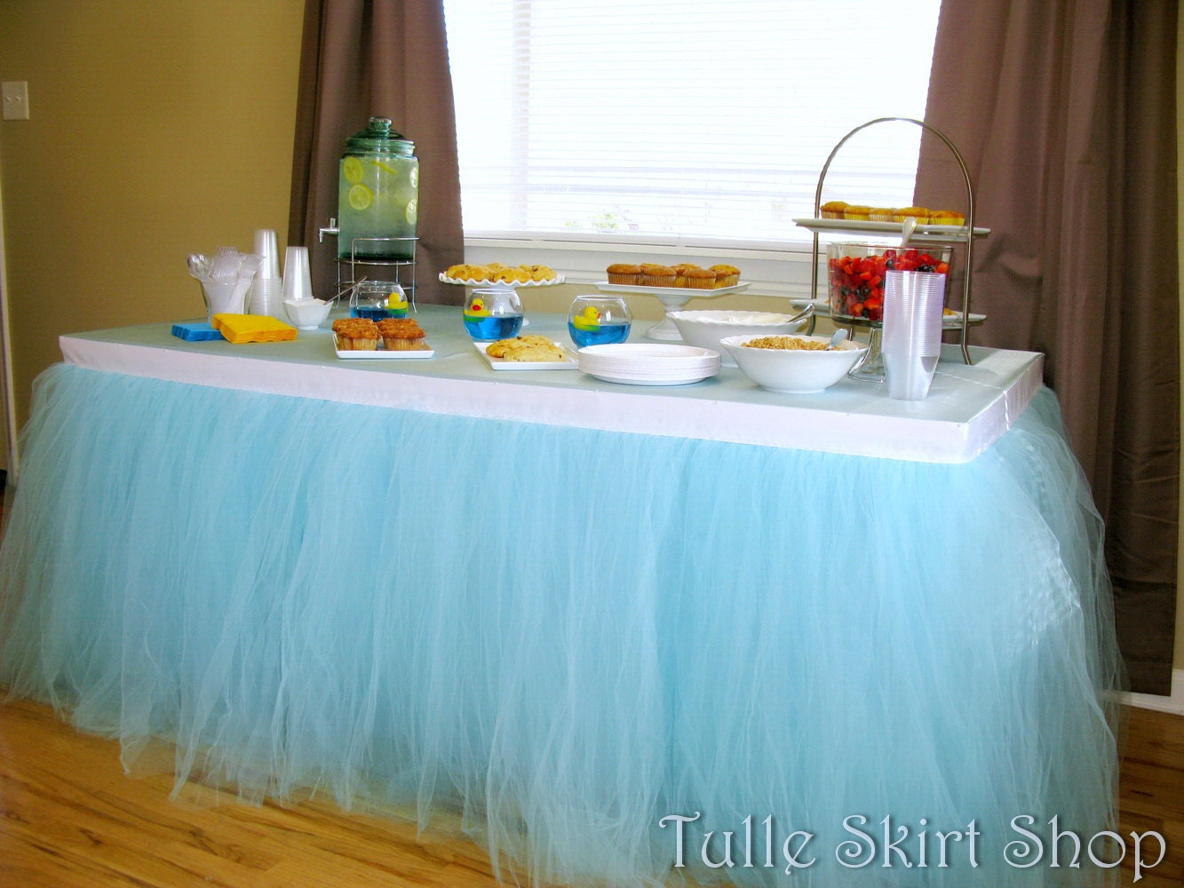 Buffet table skirting - Blue Tulle Table Skirt Tutu Tableskirt For Wedding Birthday Baby Shower Custom Size Made To Order