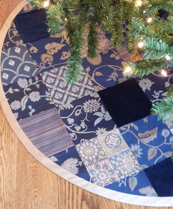 Quot christmas tree skirt royal navy blue gold velvet
