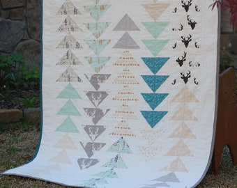 Nature Themed Crib or Toddler Quilt for Boy with Deer, Trees, and Arrows, featuring Hello Bear by Bonnie Christine for Art Gallery Fabrics