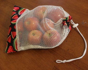 Watermelon print mesh produce bag/reusable/farmer markets