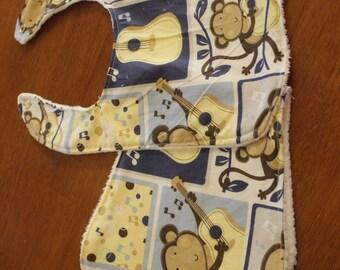 Blue music monkey baby bib and burp cloth set